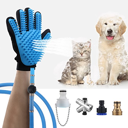 AEMIAO Pet Shower Sprayer – Multi – Functional Pet Bathing Tool Cat Dog Shower Hair Grooming Bath Massager Brush with 3 Hose Adapters & 1 Diverter – Indoor/Outdoor Use
