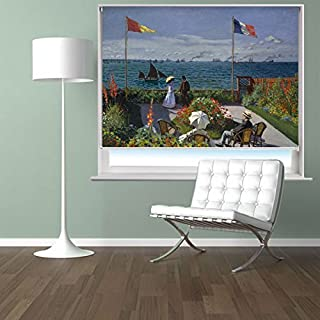 MONET GARDEN AT SAINTE-ADRESSE ART Printed Picture Blackout Photo Roller Blind - Custom Made Printed Window Blind