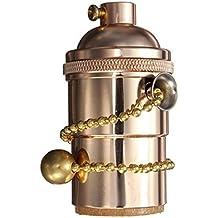 KINGSO E27 portalampada Rame Retro antico Edison luce ciondolo In ottone massiccio Luce Socket, Vintage industriale Lampade a sospensione con a cerniera