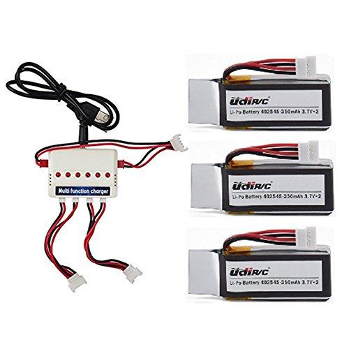 Preisvergleich Produktbild Togather® UDI U818A-WIFI U845 U845-WIFI RC Quadcopter Ersatzteile 3Pcs 3,7V 350mAh Akku + 3 in 1 Ladegerät + 3PCS Ladekabel Ersatz für Drone