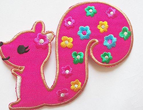 """Aufnäher für Kinder Jacken Jeans Kleidung Frauen Bügelbilder Flicken Stoff Patch Kleider Aufnäher Patches Aufbügler zum Aufbügeln """"pink Eichhörnchen 13 x 9 cm"""""""