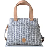 PacaPod Richmond Navy Herringbone Designer Baby Wickeltasche-Luxus Blau Muster 3in 1Organisieren System