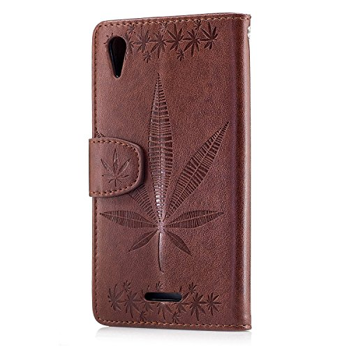 Für Sony Xperia T3 Case Cover, Premium Soft TPU / PU Leder geprägt Ahorn Muster Brieftasche Fall mit Halter & Cash Card Slots & Lanyard ( Color : Rose ) Brown