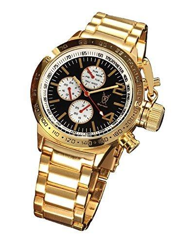 Große Ton (Konigswerk Herrenuhr Armband Gold Ton großes Ziffernblatt schwarz Multifunktion Tag Datum Konigswerk AQ201742G)