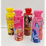 ShopKooky Mix Cartoon Character Printed Premium BPA Free Unbreakable Bottles (Pack Of 4) | Minion Barbie Spiderman Frozen | Attractive Designer And Stylish | Water Bottle For Kids | Perfect For Gifting Purpose | Return Gift | Birthday Gifts Online