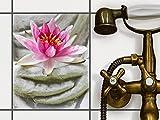 creatisto Stickerfliesen Dekorationsaufkleber | Fliesen-Sticker Aufkleber Folie selbstklebend Bad renovieren Küche Deko Bad | 20x25 cm Design Motiv Flower Buddha - 1 Stück