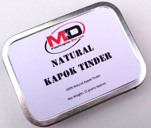 MD 100% kapok naturel Fire Starter Amadou enfermée dans une boîte de survie Argent avec joints caoutchouc 15 ml Idéal pour éclairage de survie Bushcraft Fire