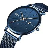 Nibosi Luxus-Herren-Armbanduhr, Blauer Edelstahl, ultradünn, klassisch, analog, Quarz, Datum, Sport, wasserdicht