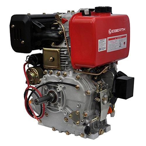 EBERTH 10 CV Motore a diesel (Avviamento elettrico e a strappo, 25,4 mm Albero, Motore a scoppio 4 tempi, 1 Cilindro, Raffreddato ad aria, Protezione da mancanza olio, Batteria)