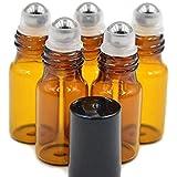 12 botellas de cristal color ámbar recargables de 3 ml con bolas y tapas negras para aromaterapia, perfumes y aceites esencia