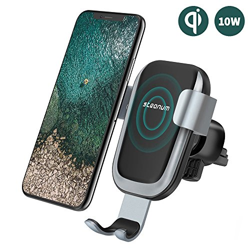 steanum Qi Handy Halterung für Auto,Qi Induktions Autohalterung Air Vent Phone Mount Holder für Apple iPhone X/iPhone 8/8Plus, Samsung Note 5/8, Galaxy S9/S9+/S8/S8+/S7/S6 Edge+ Schwarz … (Air-vent-mount)