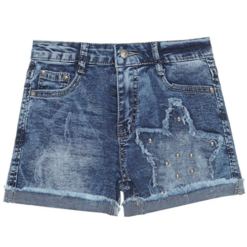Kinder Mädchen Kurze Hose Bermuda Shorts Sommer Capri Pump Pants Jeans 21272, Farbe:Blau;Größe:128 (Shorts Mädchen Jeans)