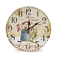 """LOHAS Home 30cm Silent Wooden Round Wall Clock, 12"""" Vintage Shabby Chic Floral Patchwork Clock - for Living Room, Bedroom and Kitchen - Multi-Coloured Cute Retro Style, 30cm (Cafe & Flower)"""