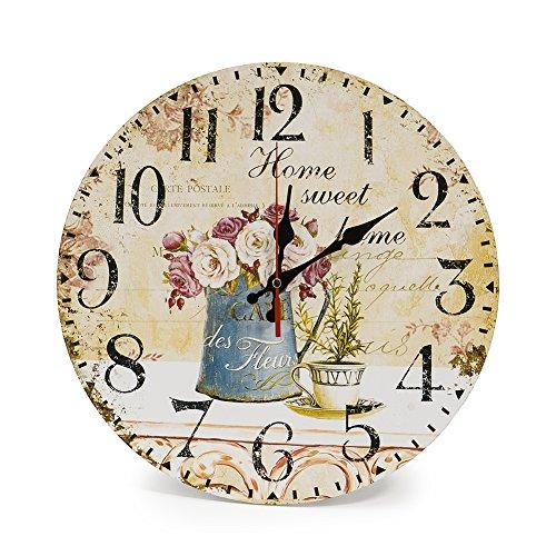 LOHAS Home 30cm Orologio da Parete, 12in Vintage Colorful Francia Parigi  Stile Francese del Paese Toscano di Numeri Arabi Design Silenzioso Orologio  ...