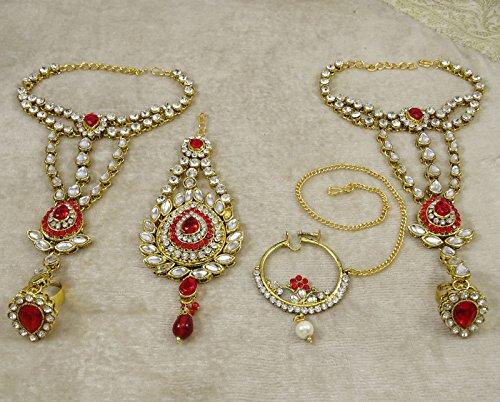 Banithani Définir Mariage Bollywood Traditionnel Cadeau De Bijoux Collier De Mariée Pour Les Femmes rouge
