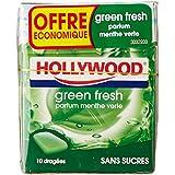 Hollywood 5 Paquets de 10 Dragées Chewing Gum sans Sucres Menthe Verte Green Fresh 72,5 g