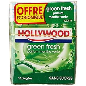 Hollywood Chewing Gum ohne Zucker, Mintgrün, 72,5 g, 5 Packungen mit je 10 Stück