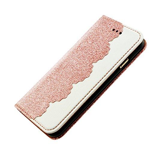 iPhone 8 Lederhülle, Fraelc iPhone 7 Bling Bling Tasche Hülle Glitzer Schutzhülle Flip Case mit Standfunktion & Kredit Kartenfächer Handyhülle +1x Eingabestift Pen für iPhone 7 / iPhone 8 (4,7 Zoll),  Rose Gold