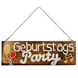 Woodpassion Wandschild Holz Deko-Schild Hängeschild Geburtstags-Party 30x10cm