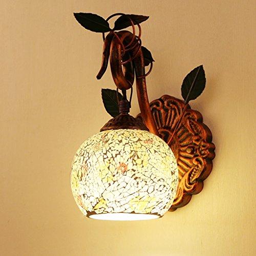 Wandleuchte Wandleuchten für Schlafzimmer - Europäische Stil Retro Beleuchtung minimalistischen Schlafzimmer Nacht Gang Korridor Treppe Balkon Pastoralen Mosaik (Plate-nacht-licht Wall)