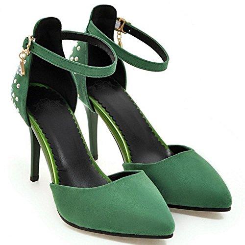 COOLCEPT Femme Mode Sangle De Cheville Sandales Mince Talon Haut Bout Ferme Chaussures Taille Vert