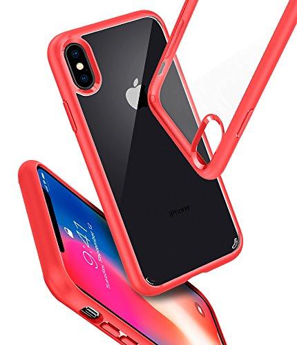 Cover iPhone X, Cover iPhone 10, Spigen® [Ultra Hybrid] Custodia iPhone X con tecnologia Air Cushion e Protezione da goccia ibrida per Apple iPhone X (2017) - Matte Black - 057CS22129 Red