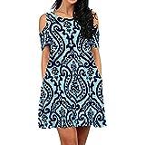 ZEELIY- Kleid Damen Sommer 2019 V-Schulterfrei Kurzarm Print Casual Dress