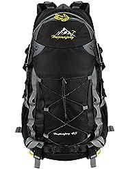 Vbiger Zaino Trekking 40 litri Resistente all'acqua per Trekking Alpinismo Escursionismo (Nero)