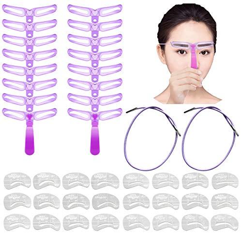 CKANDAY 40 Stück Augenbrauen-Schablonen, Wiederverwendbare handhabbare Augenbrauen-Form DIY-Brauenpflege-Formvorlagen-Kits mit lila Griff,Riemen und 24 Stück Zeichenanleitung Karten-Make-up-Tools