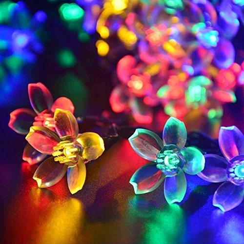 Spardar - catena luminosa a energia solare, per esterni, 7 m, 50 fiori colorati impermeabili, luce decorativa per giardino, feste, matrimoni, natale, feste, ecc.
