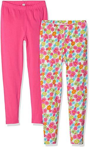 Playshoes Mädchen Blumen Allover Und Pink Im 2er Pack Leggings, Mehrfarbig (Sortiert 999), Herstellergröße: 98 (erPack 2) Baumwolle Baby-leggings