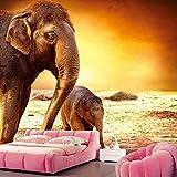Wxlsl Kundenspezifischer Mutterelefant Und Babyelefant Unter Sonnenuntergang Tapete, Hotelwohnzimmersofa Fernsehwand-Schlafzimmerwandbild 3D-350Cmx256Cm