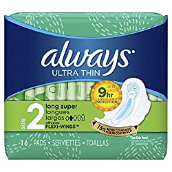 Ultra Thin Long/Super with Wings Unscented Pads 16 Count