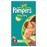 Pampers Baby Dry Größe 4 (7-18kg) Große Packung Maxi 2x62 pro Packung