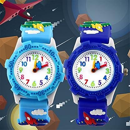 Godagoda-Kinderuhr-Armbanduhr-Analog-Quarz-Wasserdicht-Kampfflugzeug-Design-mit-3d-Silkon-Armband