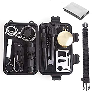 Unigear Selbsthilfe Box Outdoor Survival Kits Survival Set Notfall Selbsthilfe Set Werkzeuge Box für Outdoor Camping Wandern (12 in 1)