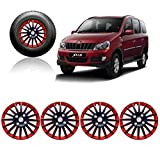 #3: Auto Pearl - Premium Quality Car Full Wheel Cover Caps Red and Black 15 Inches Press Type Fitting For - Mahindra Xylo