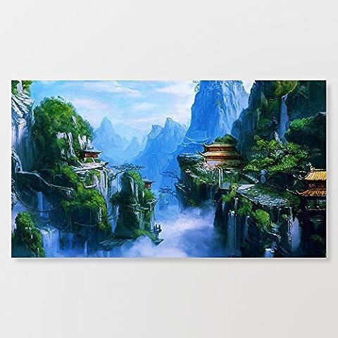 chinois Fantasy Paysage aquarelle Impression sur toile murale tendue à la main sur un cadre en bois 35,6x 71,1cm