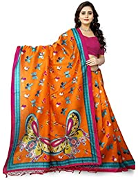 Jaanvi Fashion Art Silk Butterfly Motifs Kalamkari Printed Saree With Tassels (Orange)