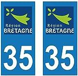 supstick 2Sticker Selbstklebend Nummernschild-Dept 35Region Bretagne Format rechteckig
