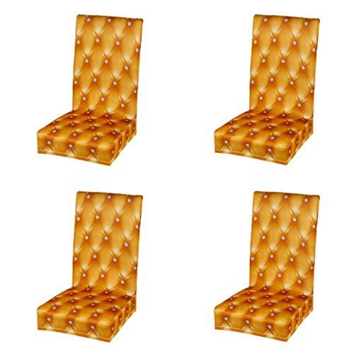 Baoblaze Stuhlhussen Stretch Universal Stuhlüberzug Stuhlbezug für alle Jahreszeiten, 4pcs/Set - Gold (Stuhlhussen-set)