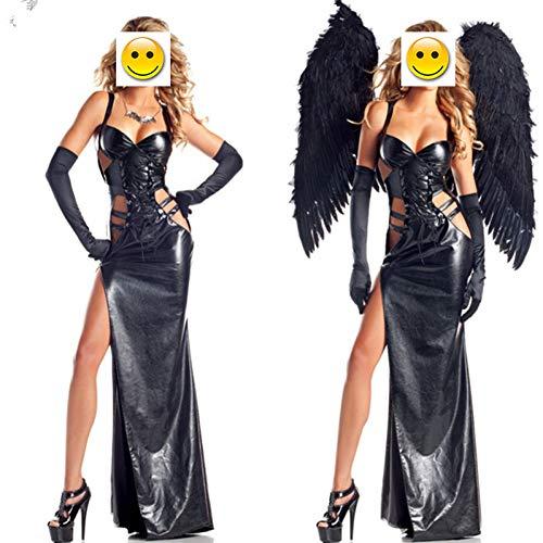 QAQBDBCKL Schwarz Dark Teufel Gefallener Engel Kostüm Erwachsene Halloween Kostüme für Frauen Gothic Hexe Kostüm (Kleid + flügel + (Wunsch Wahr Kostüm)