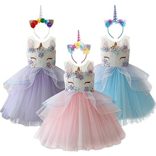 unicorno carnevale bambina  Costume Unicorno Fiore Ragazze Halloween Bambina Carnevale Vestito ...