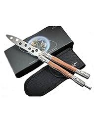 Herramienta cuchillo mariposa cuchillo de entrenamiento Balisong Práctica Trainer (Dull Knife) (madera)