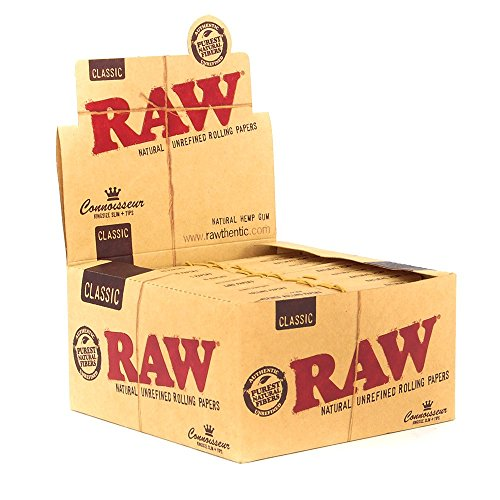 48x RAW Classic Hemp Connoisseur Kingsize Slim Rolling Papers + Tips - 2 Boxes