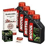 Ölwechselset Motul 5000 10W-40 Öl + HiFlo Ölfilter für Yamaha XV 750 Virago, Bj. 92-97 (Typ 4FY 4PW); Motoröl + Filter + Dichtring