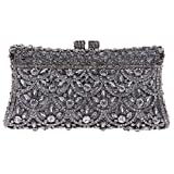 Bonjanvye Evening Party Clutch Handbag Prom Party Bag for Ladies Gray