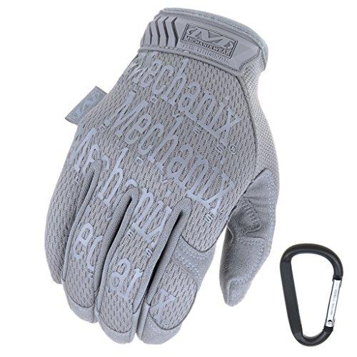 Mechanix WEAR ORIGINAL Einsatz-Handschuhe, atmungsaktiv & abriebfest + Gear-Karabiner, Original Glove in Schwarz, Coyote, Multicam/Größe S, M, L, XL (L, Grau)