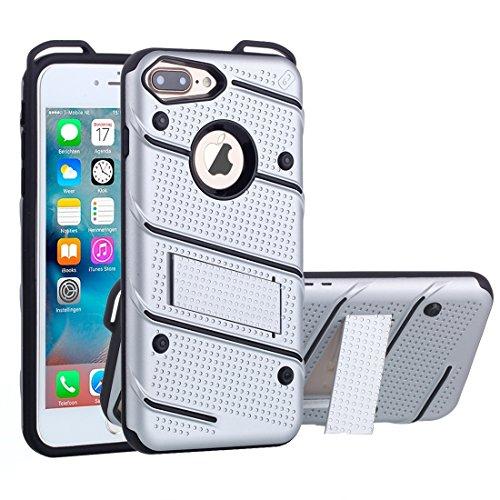 Hülle für iPhone 7 plus , Schutzhülle Für iPhone 7 Plus Charm Knight Abnehmbare PC + TPU Kombination Schutzhülle mit Halter ,hülle für iPhone 7 plus , case for iphone 7 plus ( Color : Blue ) Silver