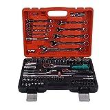 Yofafada 82pcs clés clé Voiture véhicules Outil de réparation Outil clé dynamométrique à cliquet Combo kit réparation Automatique Outil à Main Ensemble
